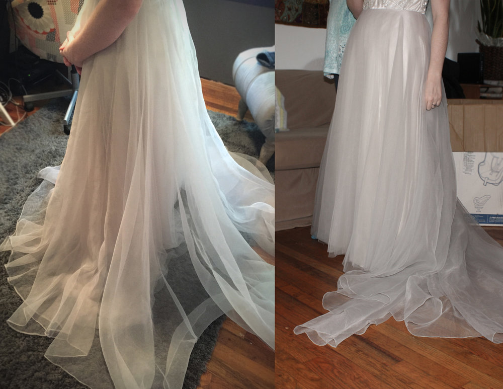 Here is the hem before in my studio, and the after as she walked around my living room.