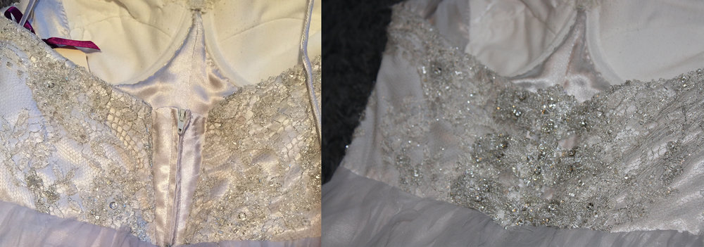 Here is a before and after of the back of the dress. The before on the left is the original extension I created to make the bodice fit around her ribs. The after and picture on the right shows the extension covered up.