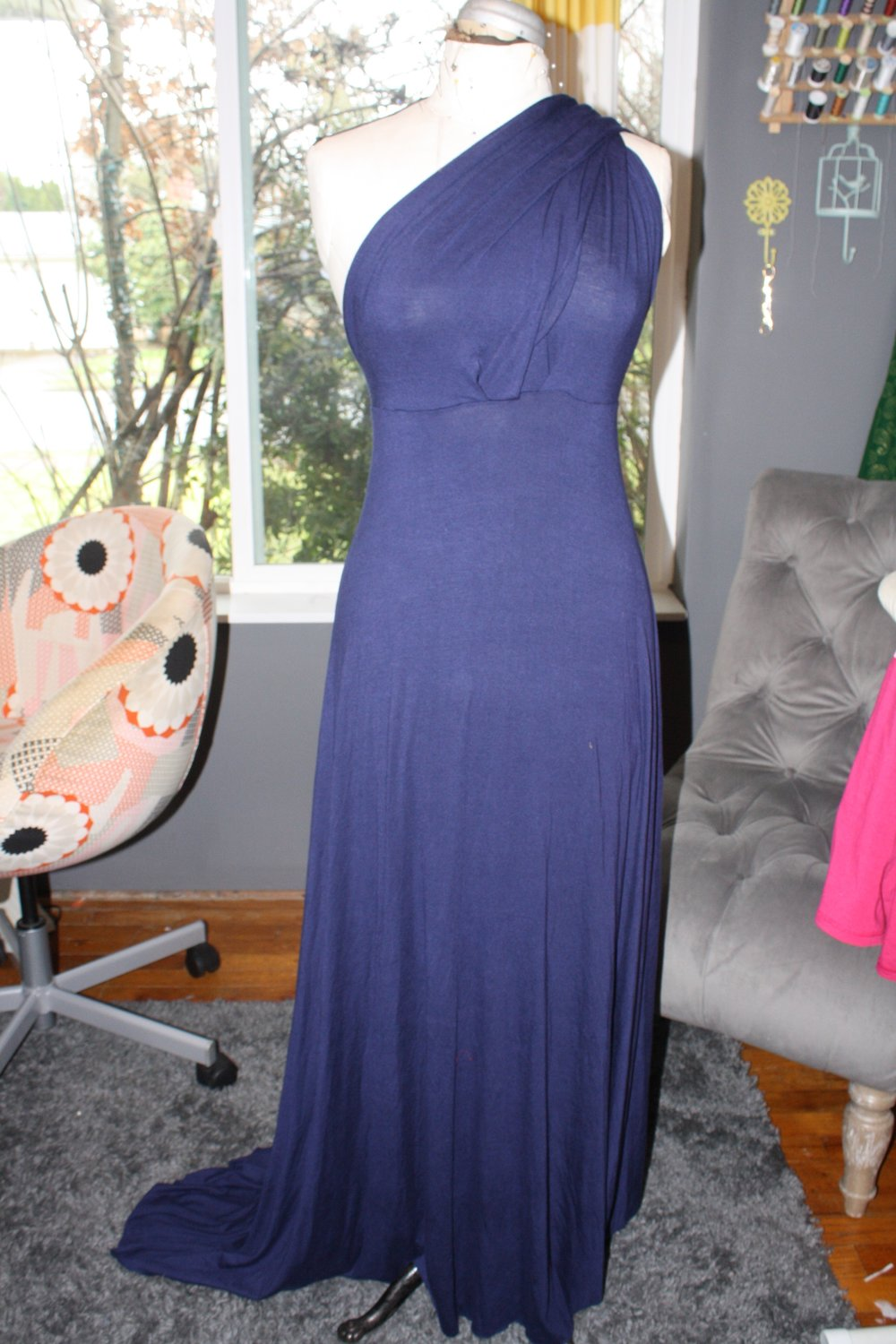 Front view of the dress hanging on my dress form.