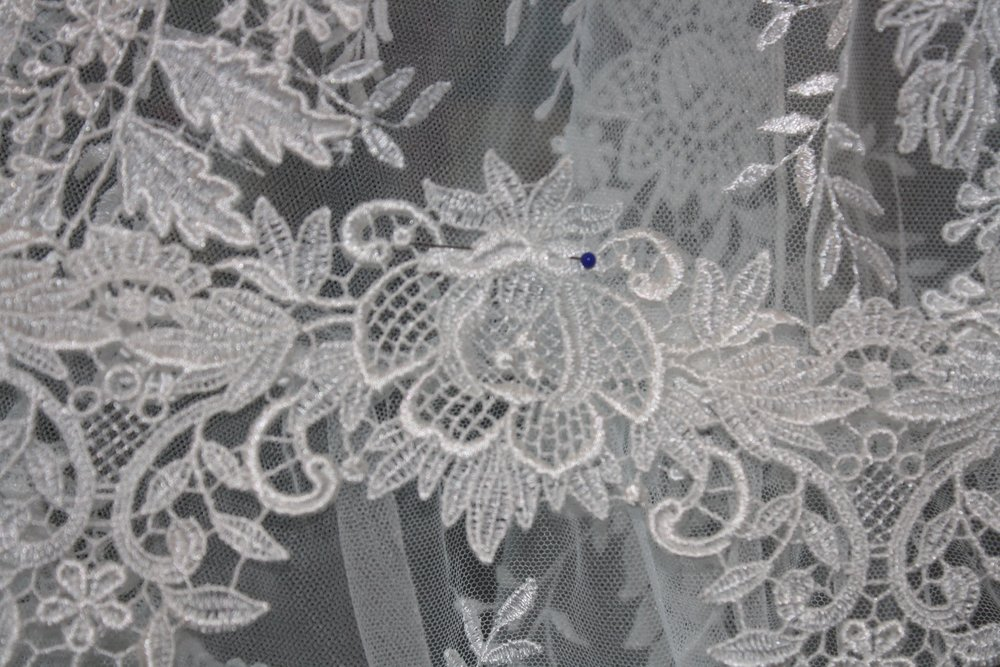 A close-up of the lace I was hand sewing.