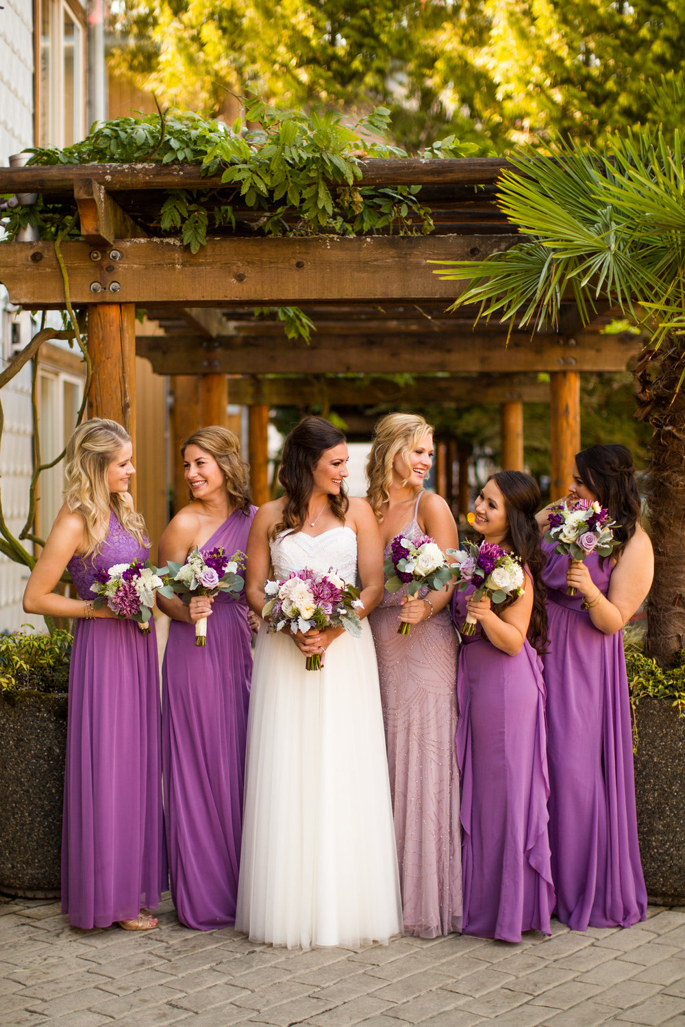Seattle Wedding Planner, Wedding Wise | Ciccarelli Photography | Edgewater Hotel Wedding | David's Bridal bridesmaids dresses in wisteria purple