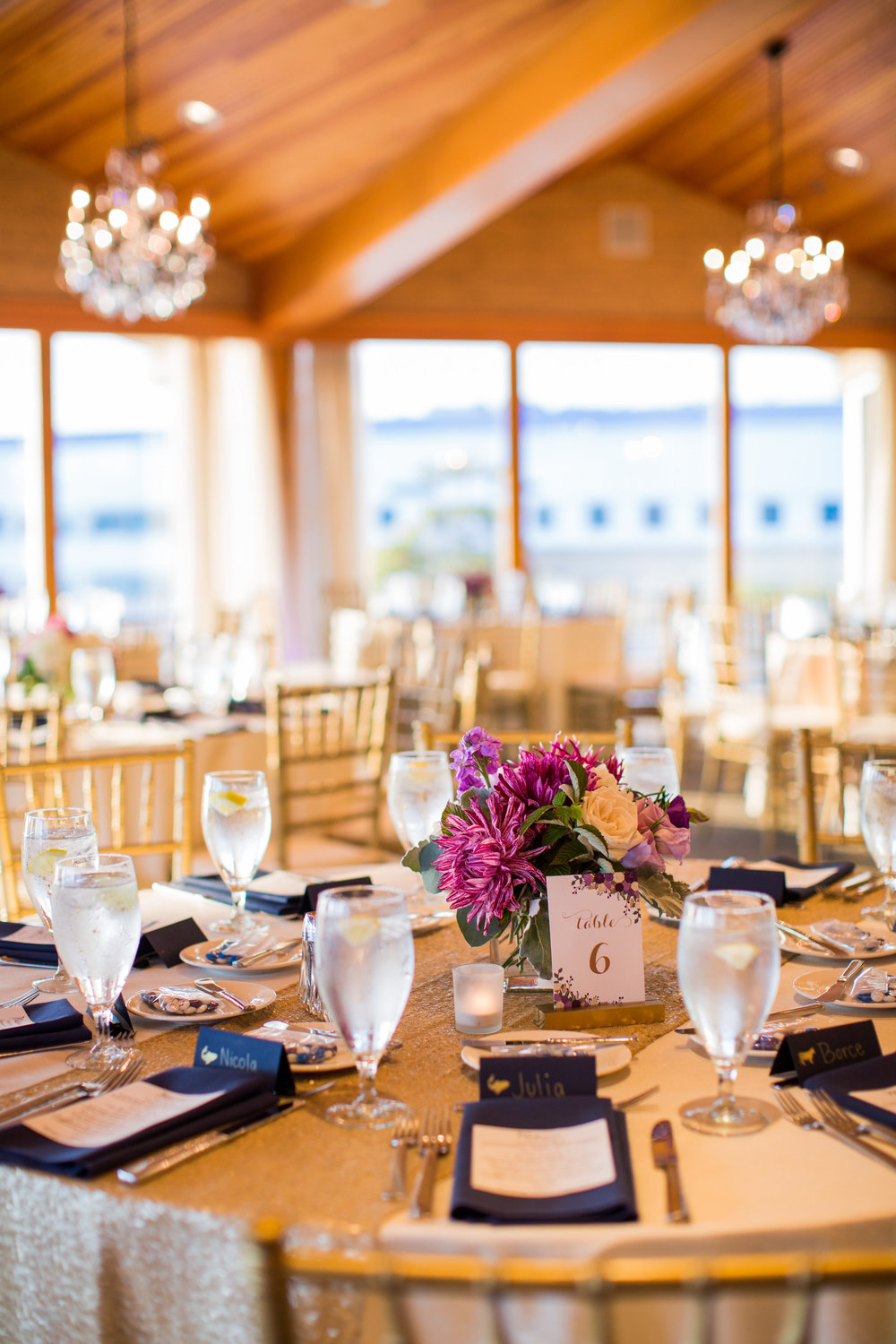 Seattle Wedding Planner, Wedding Wise | Ciccarelli Photography | Edgewater Hotel Wedding | Waterfront wedding | Navy blue and purple wedding