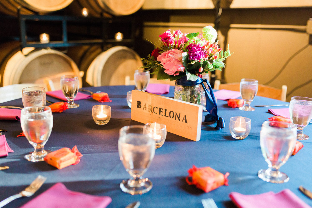 Wedding Planner Seattle | Wedding Wise | Kerry Jeanne Photography | JM Cellars Wedding | Tropical wedding | Fuschia and navy blue wedding