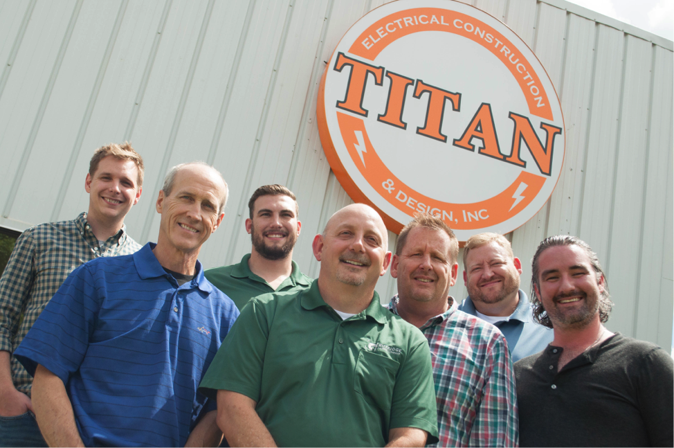 L to R: Brandon Allison, Director of Finance/Administration, Titan; Jack Rose, VP of Operations, Titan; Lane Hartfield, CEO, Gutridge; Dave Perigo, COO, Gutridge; Elliot Allison, President, Titan; Tom Werner, Managing Partner, Kassel and Chairman, Gutridge; and Brett Motherwell, Managing Partner, Kassel and Vice Chairman, Gutridge.
