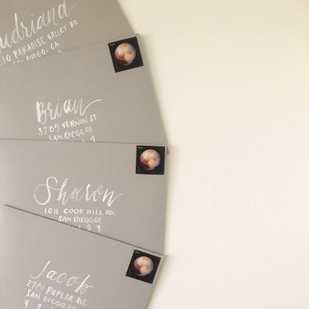 Gray Envelopes with Handlettered Watercolor Addressing.JPG