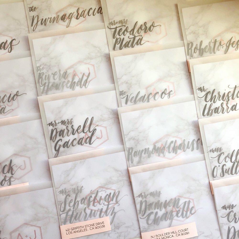 Vellum Envelope Wraparound Address Label Handlettered Names.JPG