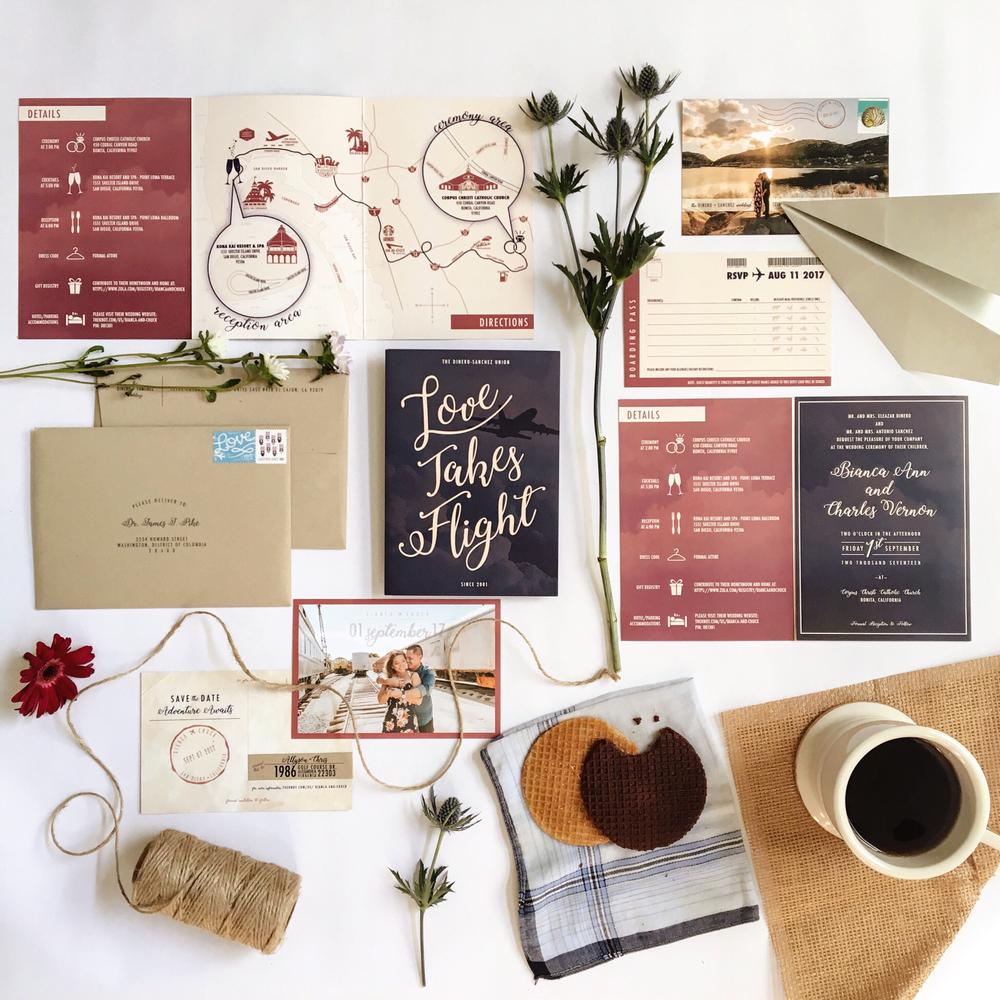 Navy and Marsala Passport Tri-Fold Wedding Invitation .PNG