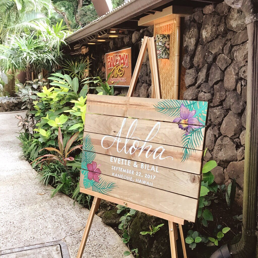 Wooden Hawaii Wedding Welcome Sign.JPG