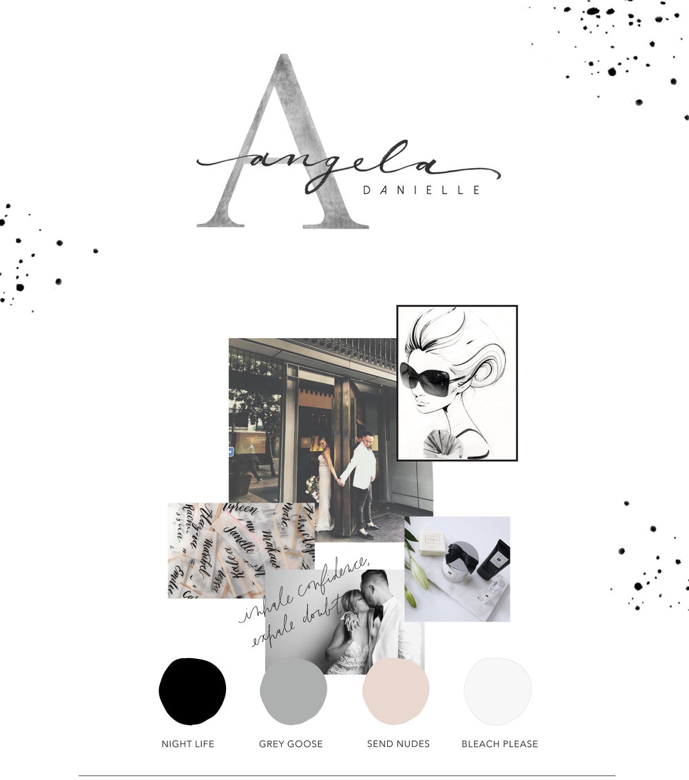 Black, White, Grey, and Nude Mood Board
