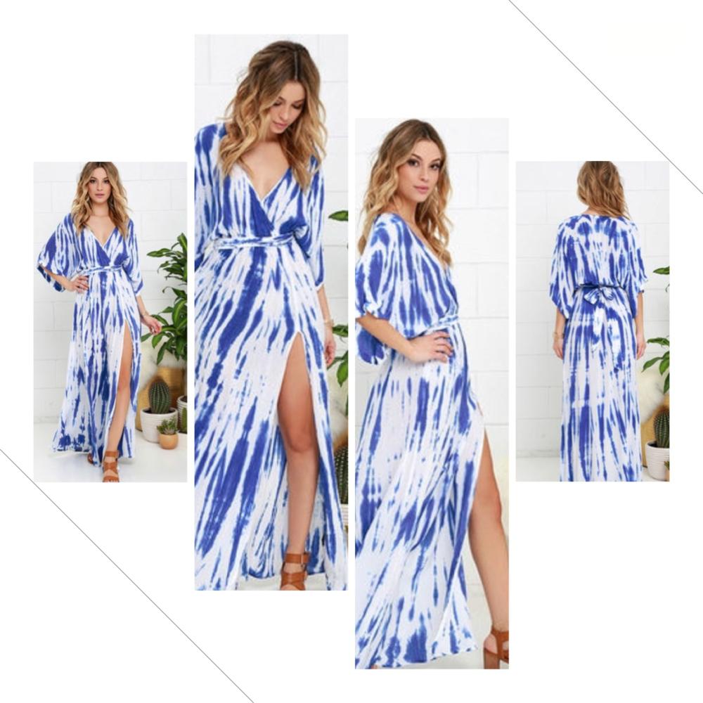Sunday Morning Blue Tie-Dye Wrap Maxi Dress