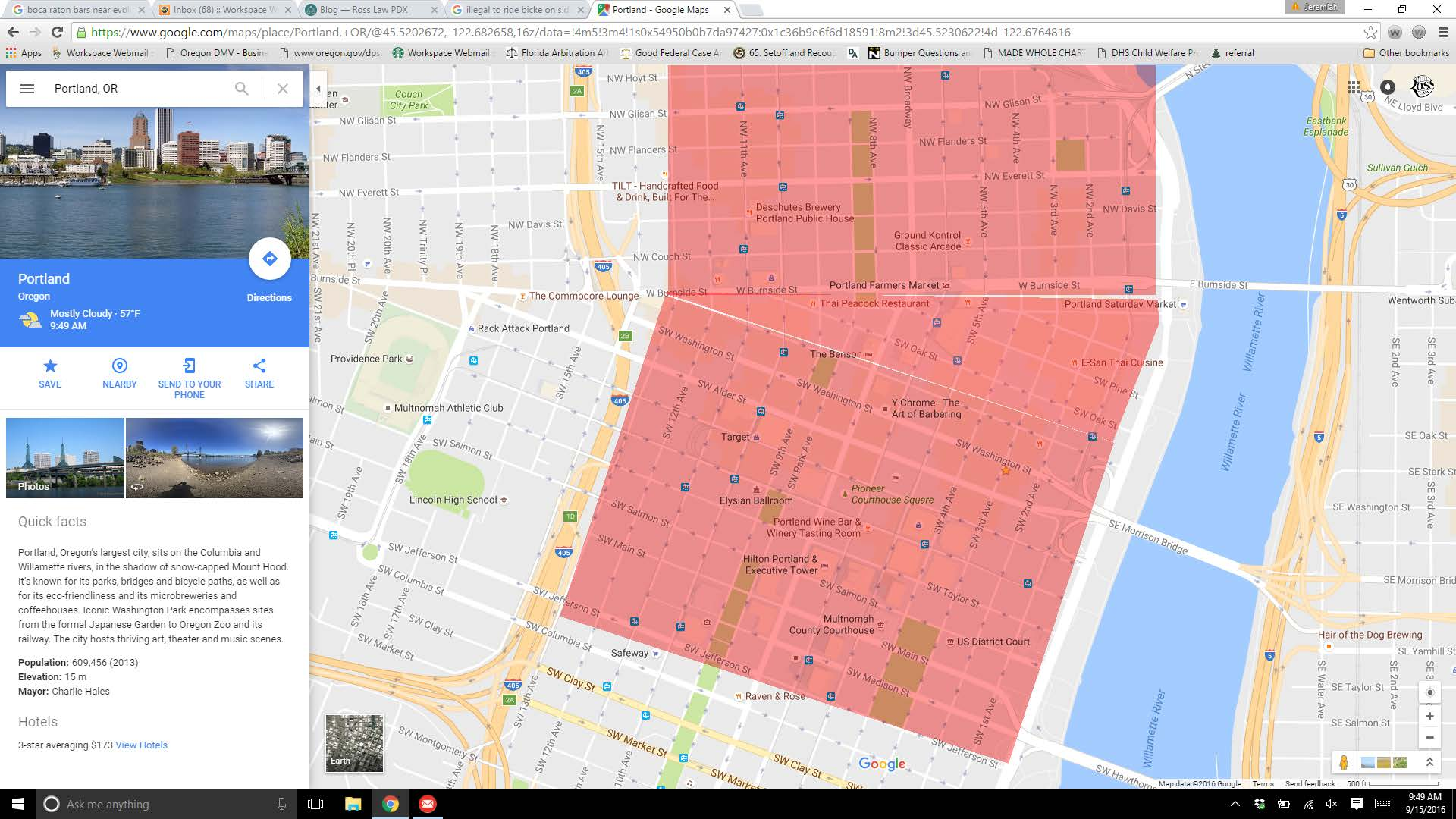 Is It Legal To Ride A Bicycle On A Downtown Portland Oregon Sidewalk Downtown Portland Hotels Map on