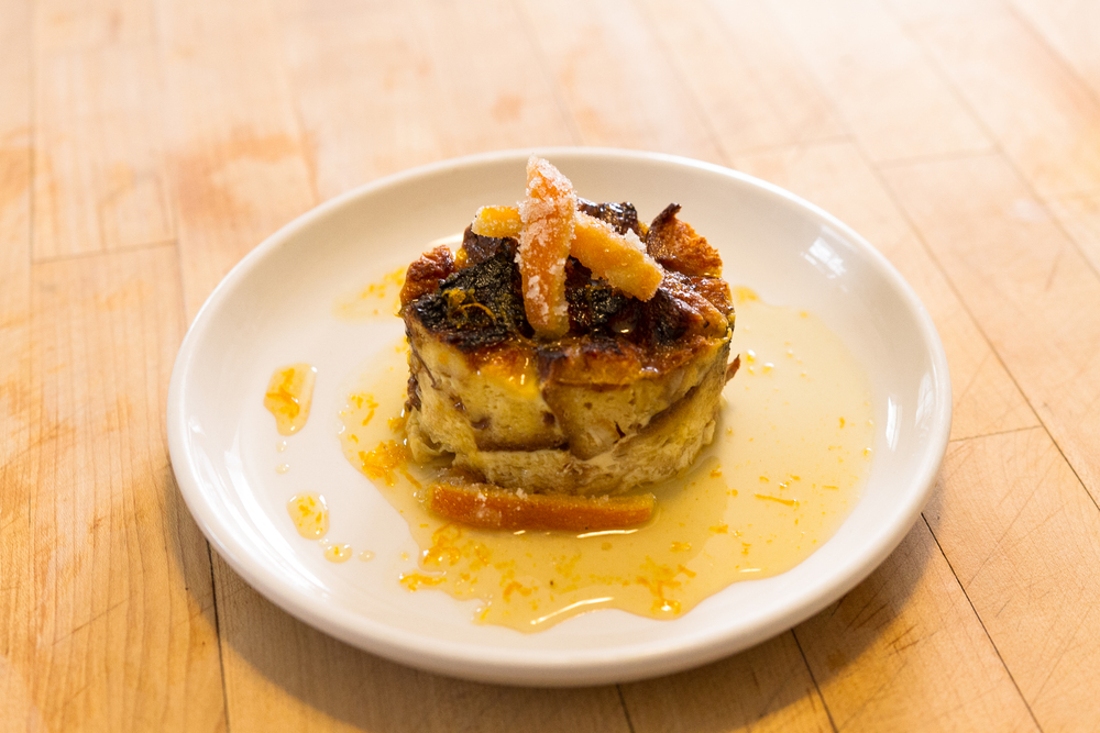Panettone Bread Pudding ~ topped with homemade candied orange peels