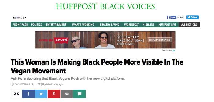 A screenshot from the HuffPost website