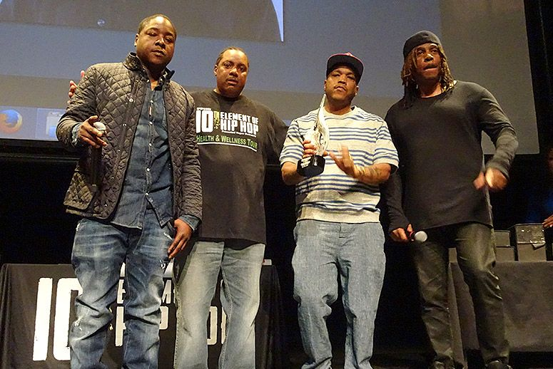 Jadakiss, Keith Tucker, Styles P, and Easy AD (from left) receive the Hip Hop Is Green Community Health & Wellness Award. (Photo: Maureen Cohen Harrington)