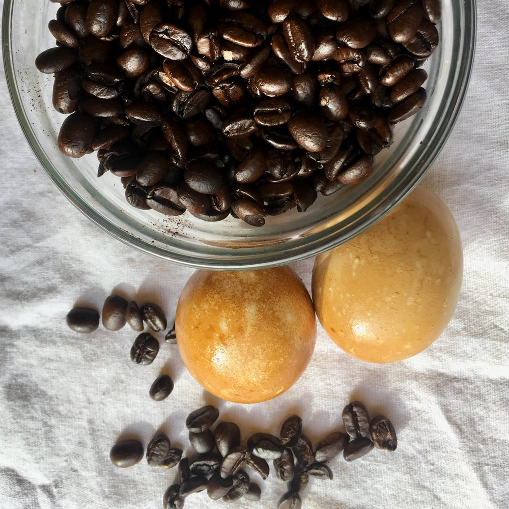 Coffee.  To make this color with coffee you just have to brew a strong pot. Skip the boiling water steps.