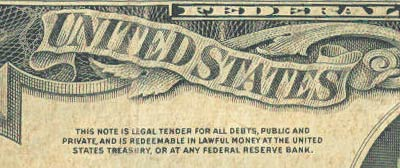 "BEFORE 1963: ""this note is legal tender for all debts, public and private, and is redeemable in lawful money at the united states treasury, or at any federal reserve bank."""
