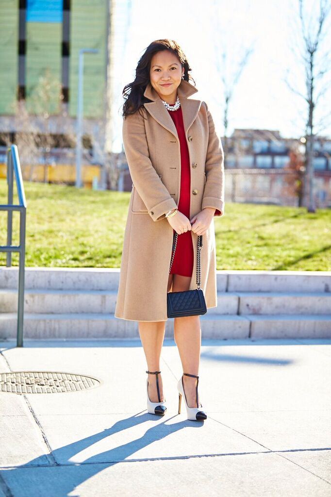 Coat: Brooks Brothers, Dress: Zara, Shoes: Nine West, Handbag: Forever 21, Neckpiece: Ann Taylor Photo by Josh Campbell