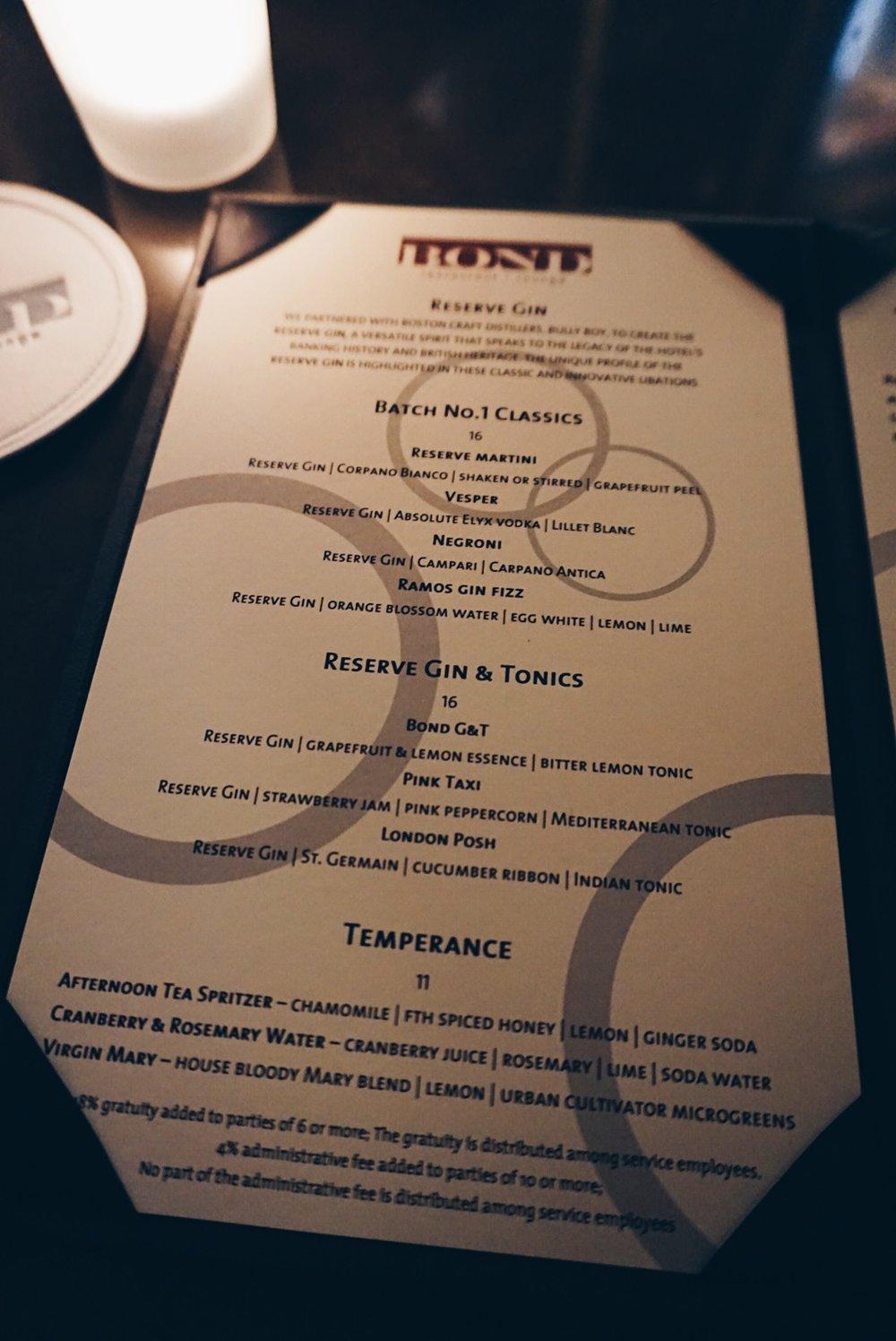 bond's cocktail menu