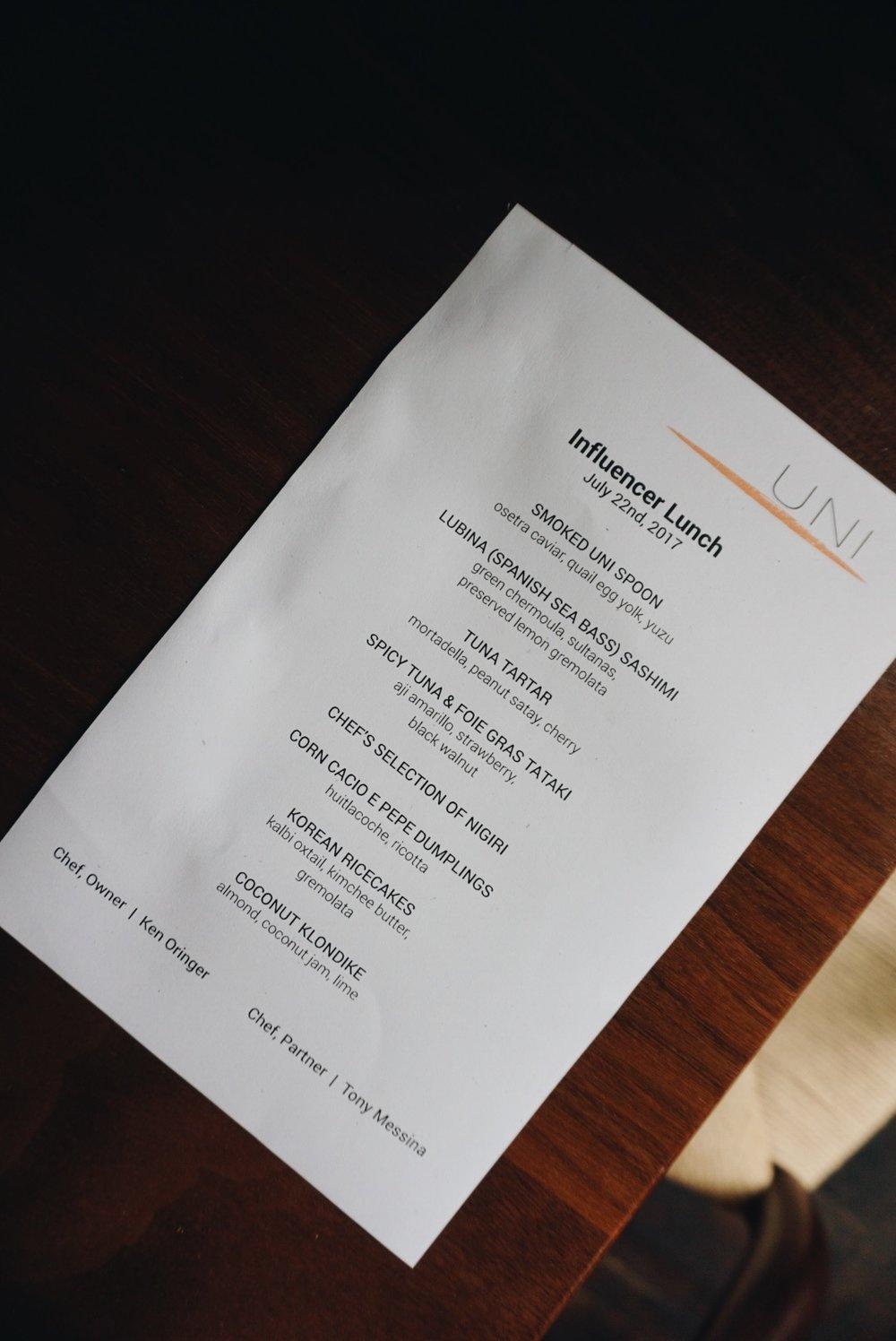 On the menu...