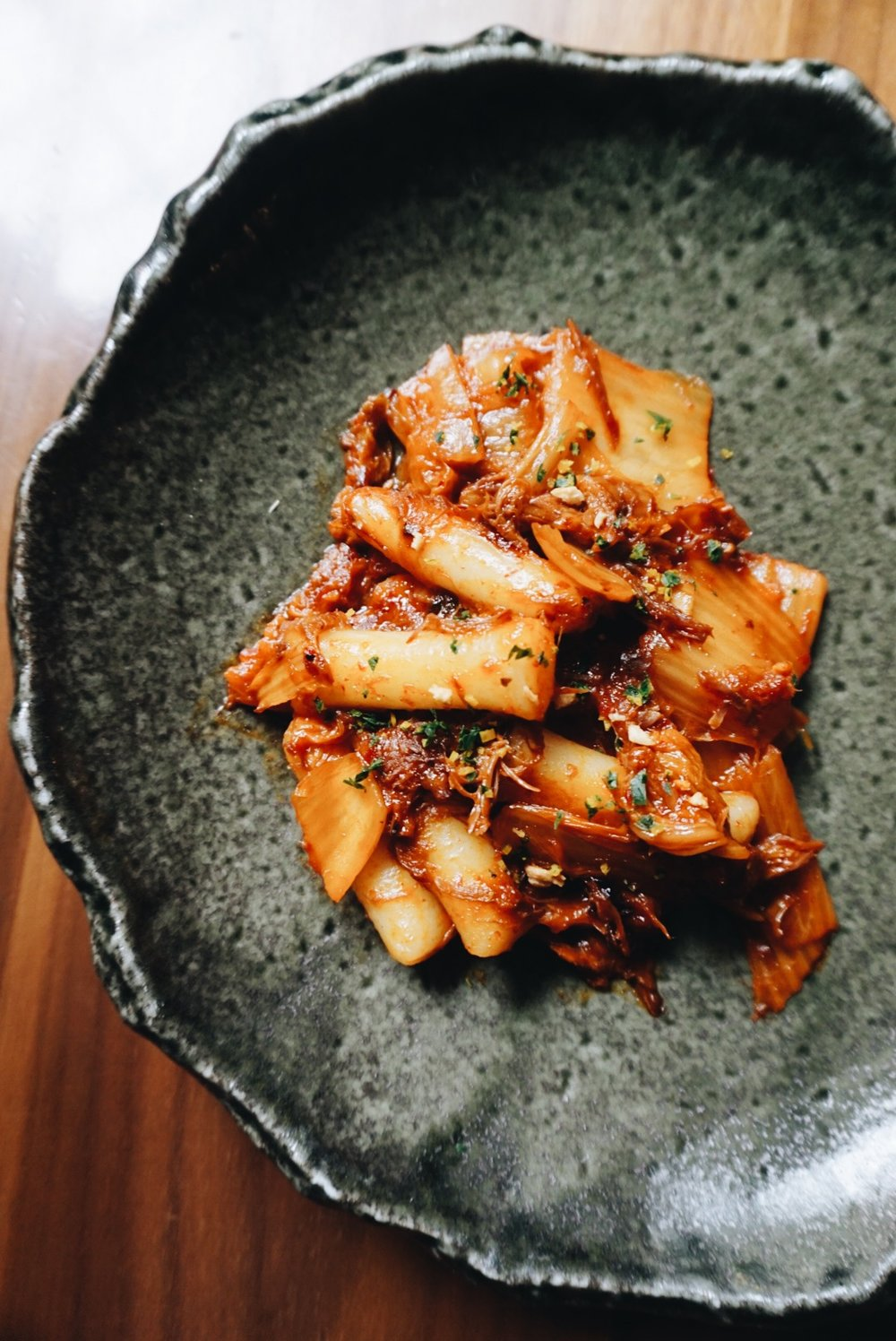 Korean Ricecakes; kalbi oxtail, kimchee butter, gremolata
