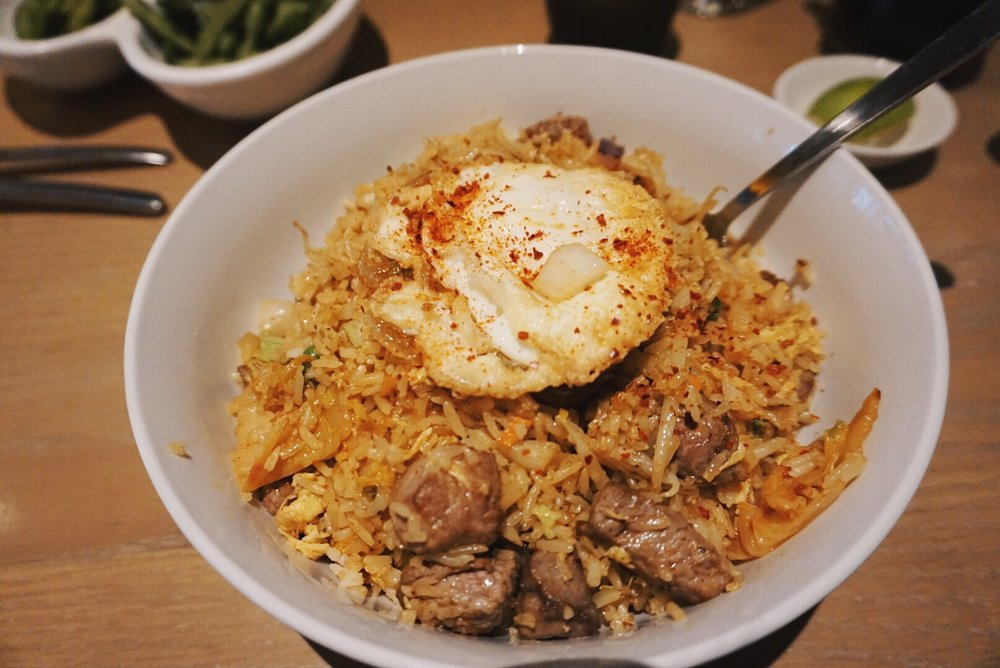 For entree, I tried their Kimchi Steak Fried Rice with Fried Egg because.... I love steak and I love fried egg! This bowl is bigger than it looks and flavors were coming from left and right.