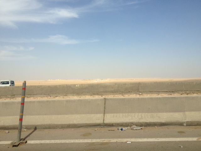 The drive to Cairo- desert for miles.