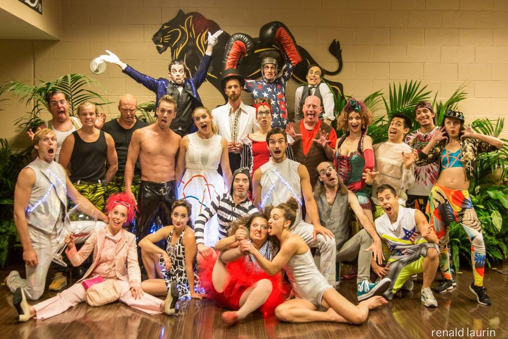 Ty Vennewitz (center with top hat) and fellow performers with Cirque Eloize at June 2016 special event at the MGM Grand Las Vegas.  (Image: Renald Laurin)