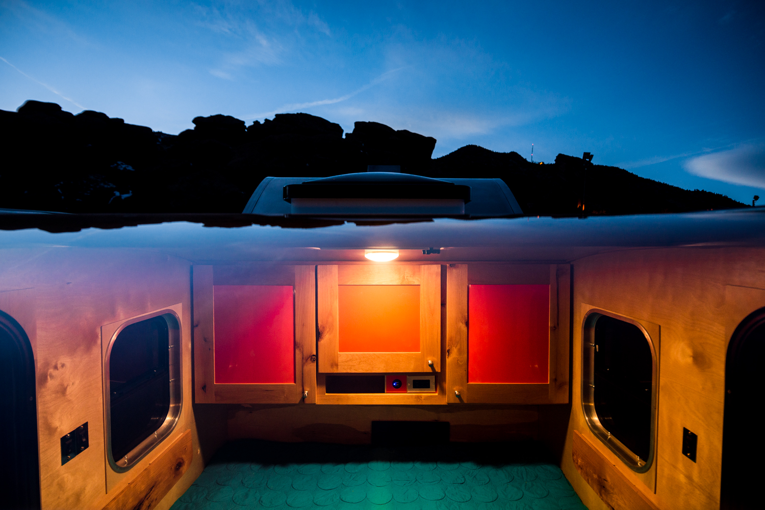 One of the largest skylights in the industry lets you see the stars as you sleep, and adds to the spacious feeling inside the teardrop trailer.