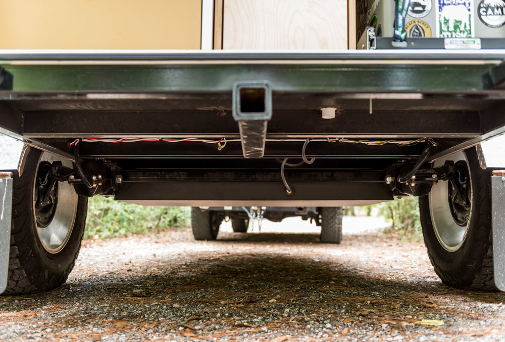 High clearance suspension on the Timberleaf Teardrop Trailer equipped with our offroad package.