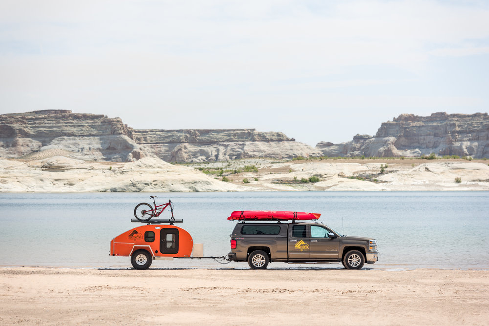 "Teardrop trailer equipped for any adventure that lay ahead - featuring 4"" suspension lift and 33"" All-Terrain tires."