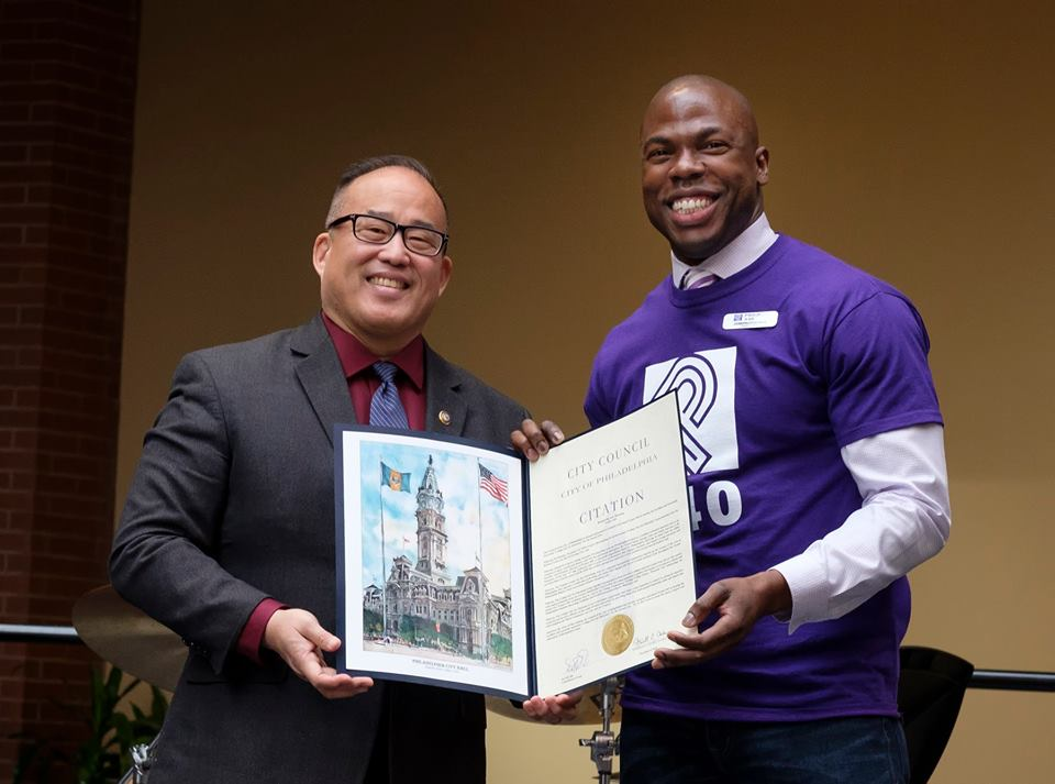 Councilman David Oh presenting Joseph Conyers with Citation from the City Council. Photo Credit: Ed Hille