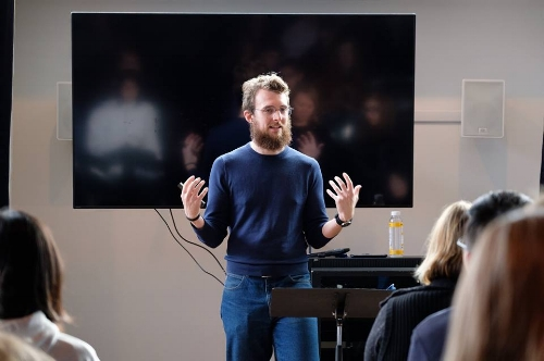 Clark Connor leads a workshop on recording yourself for auditions. Photo Credit: Rick Urbanowski