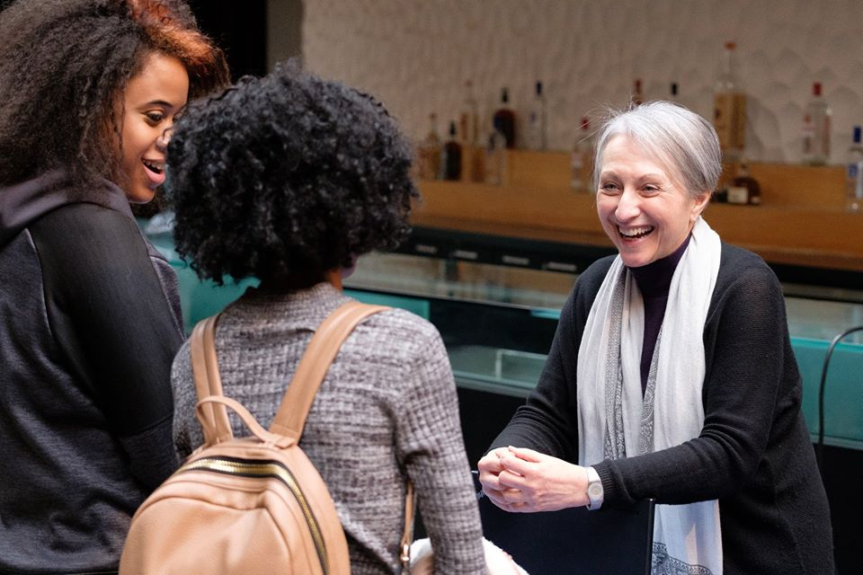 Juilliard representative speaking to College Fair attendee. Photo Credit: Rick Urbanowski