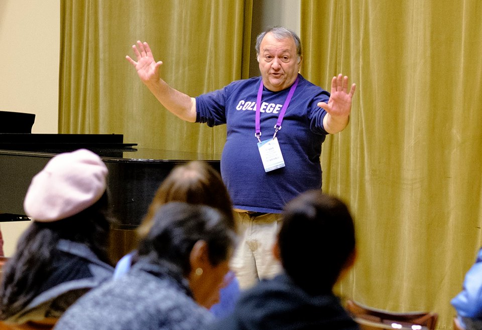 "Cigus ""The College Fairy"" Vanni presenting a workshop on An Overview of College Prep. Photo Credit: Ed Hille"