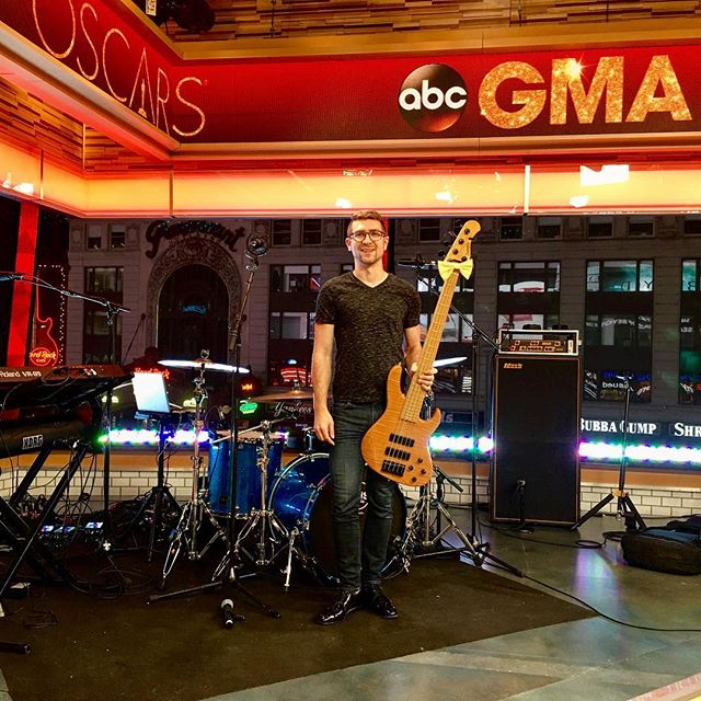 About to hit at @goodmorningamerica with @erinbowmanmusic !!! #4amcall 💤🎸💪🏽 #ABC @sadowskyguitars @markbassamps