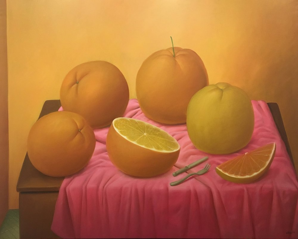 Naranjas, Oil Painting on Canvas by Fernando Botero