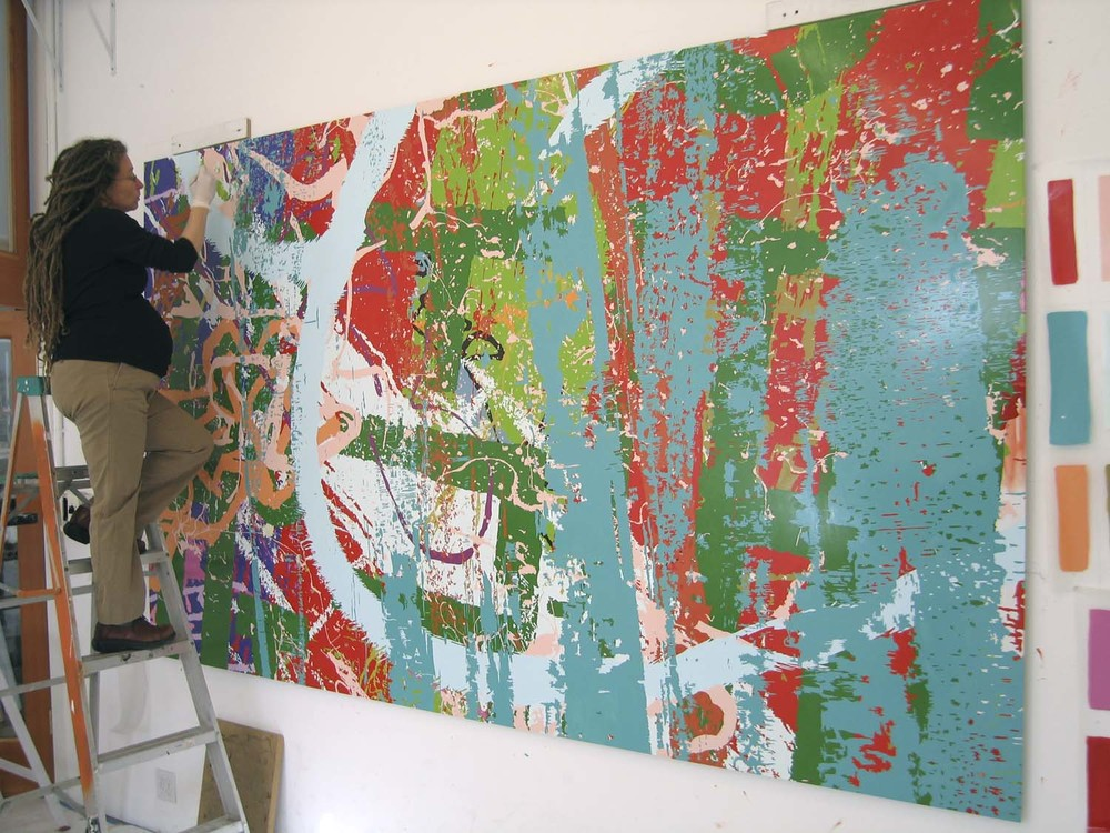 Calame painting while pregnant, 2007