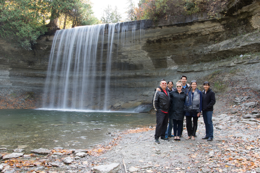 The inter-institutional crew at Bridal Veil Falls, Manitoulin Island