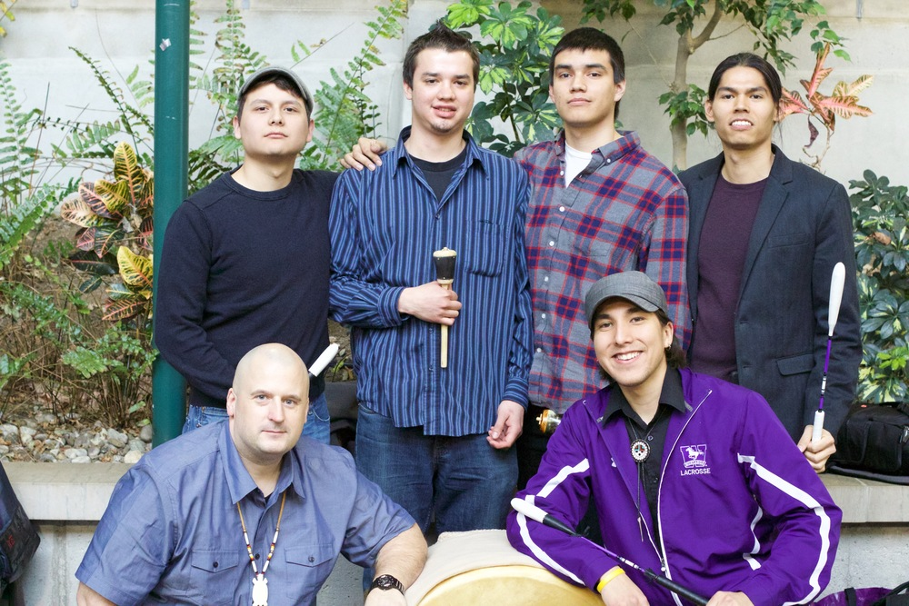 Purple Spirit drum group at the Indigenous Graduation Ceremony, Western University (2015)