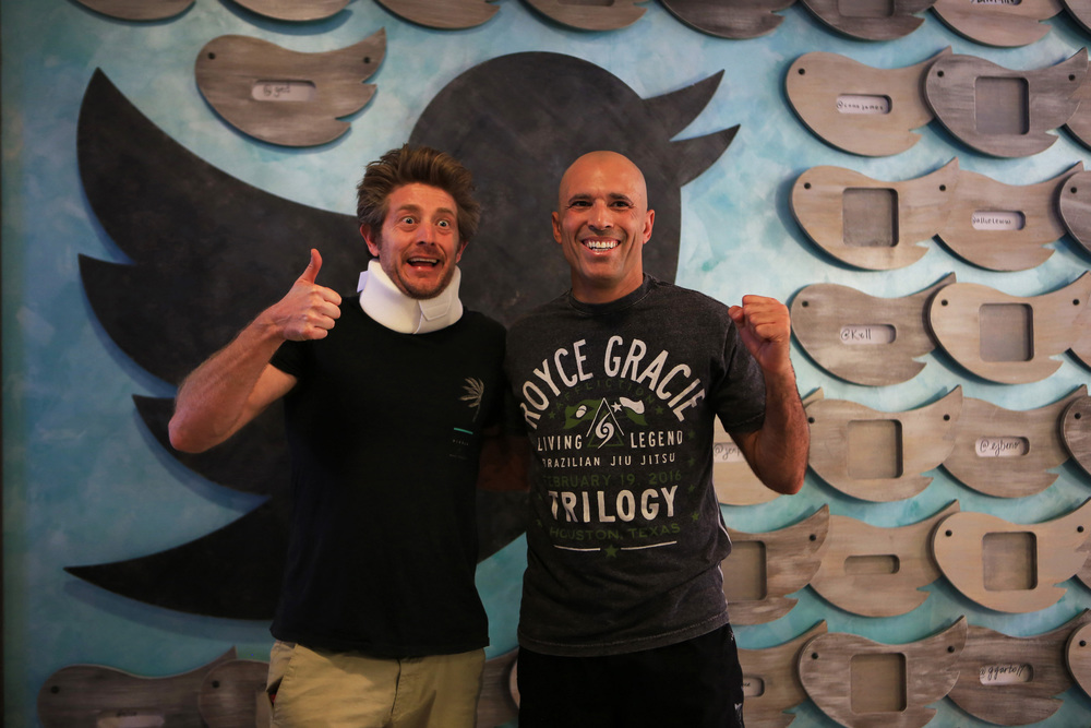 Jason Nash, left, internet filmmaker, writer and Vine phenomenon, stands with Gracie, right, mixed martial artist for Bellator MMA at Twitter, during their iPhone video shoot at Twitter in Santa Monica, CA. (©Gail Fisher for ESPN)