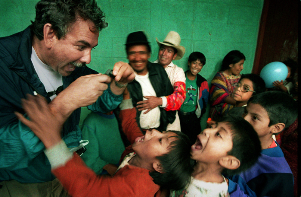 """Leslie is Xela Aid and Xela Aid is Leslie,"" said David Krasnow, the president of VOSH California, a volunteer group that brings vision care to the needy around the world, enjoys interacting with the local children. ©Gail Fisher Los Angeles Times"