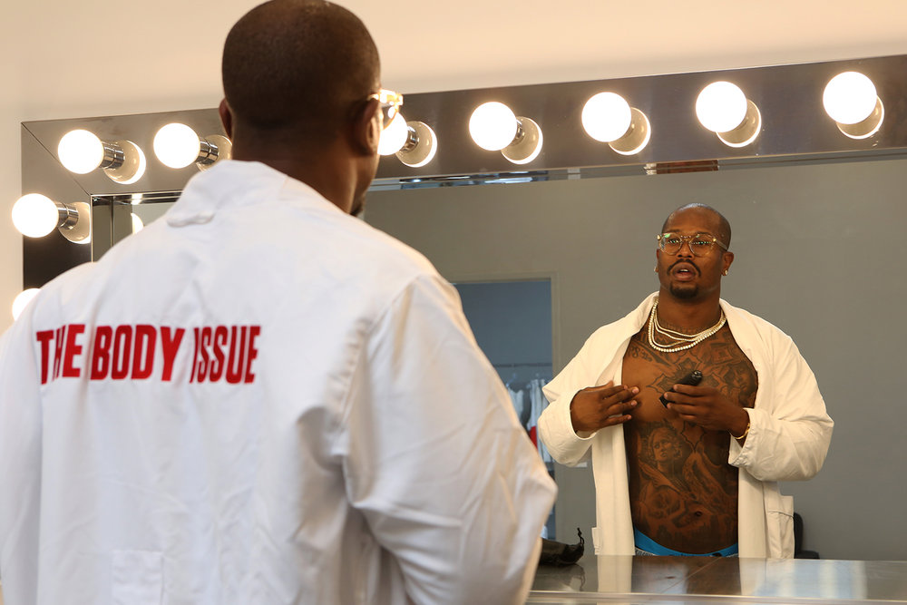 Behind the scenes in Los Angeles, CA with Von Miller for ESPN's Body Issue preparing for the photo shoot. © Gail Fisher for ESPN