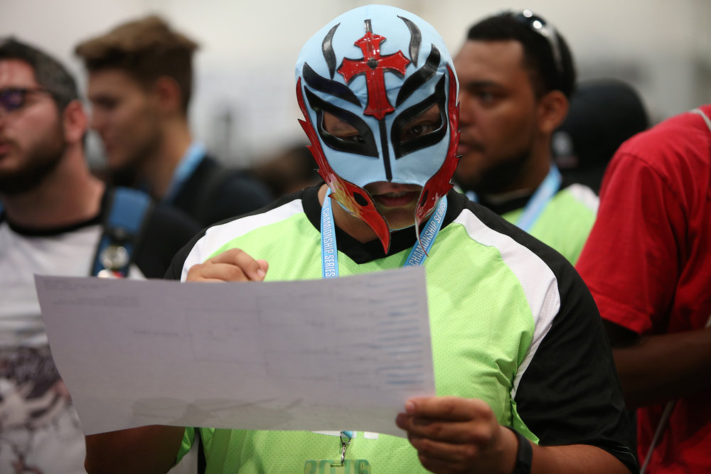 If one is to go into battle at EVO, the best way to do so is with a Lucha mask and an updated bracket. © Gail Fisher for ESPN