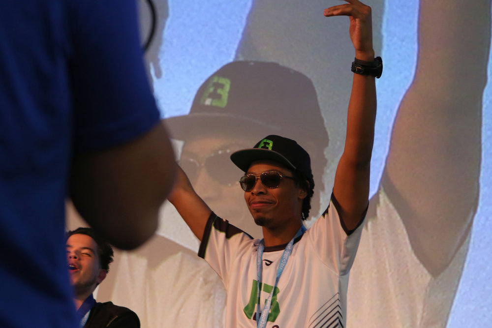 "Darnell ""Hollywood Sleep"" Waller, holds his hands high after winning the Killer Instinct Championship at EVO 2016. © Gail Fisher for ESPN"