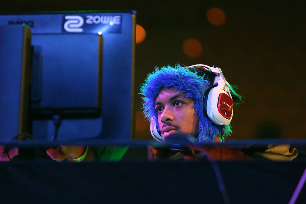 "Dominic ""Sonic Fox"" McLean plays against Sayed ""Tekken Master"" Hashim Ahmend on his first international tournament at the Evo Championship Series in Las Vegas, Nevada. © Gail Fisher for ESPN"
