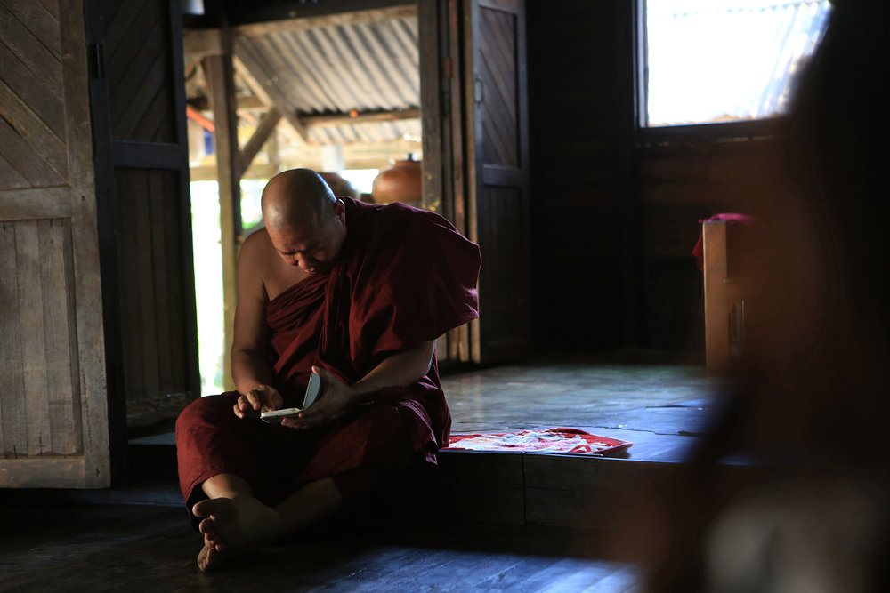 "Ashin Sanda Zawti is a longtime friend and teacher of Ashin Guinissara. The two grew up together at Ma Soe Yein Monastery in Myanmar.  Zawti said Guinissara ""was brighter and more clever than the rest of the boys."" © Gail Fisher for Los Angeles Times"
