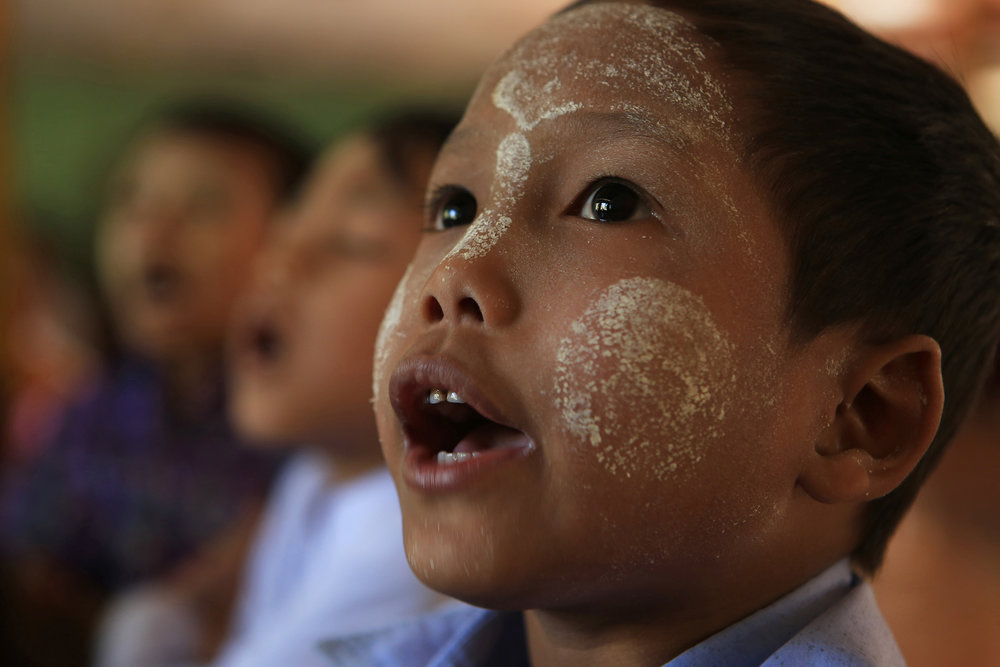 Children at the Ma Soe Yein Monastery wear thanaka,  a natural sunscreen made from the bark of a tree. © Gail Fisher for Los Angeles Times