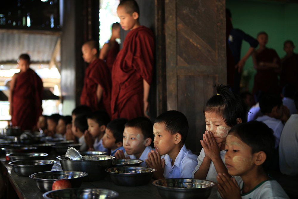 Monasteries are establishments of social welfare in Myanmar, taking in orphans and the less fortunate. © Gail Fisher for Los Angeles Times