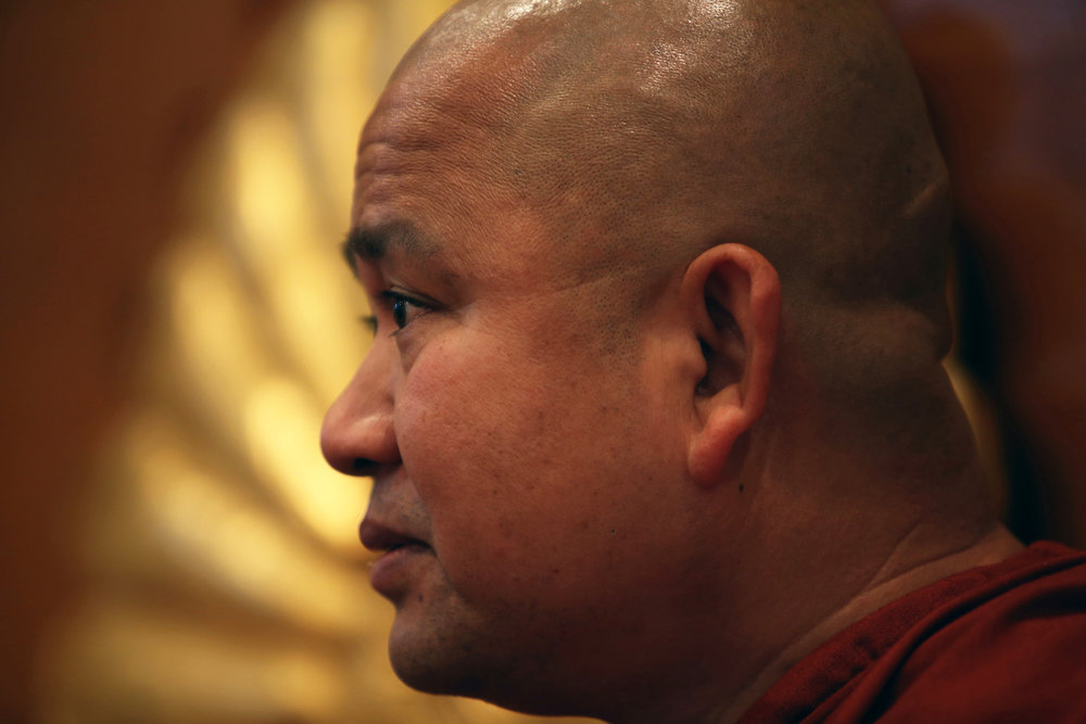 Ashin Gunissara, a Buddhist monk who founded Dhammajoti Meditation Center in Baldwin Park, with the help of donors was able to build a school in the village of his birth place at the Ma Soe Yein Monastery where he grew up as a young boy. © Gail Fisher for Los Angeles Times