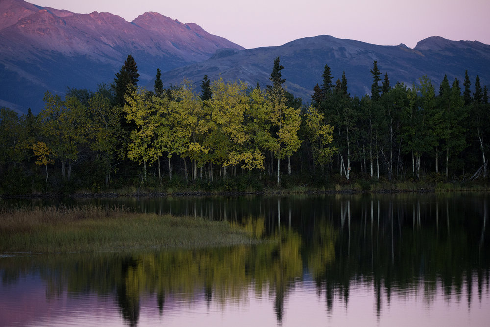 Sun sets over tranquil Otto Lake with views of Mt. Healy and Mt. Dora ten miles north of north of Denali National Park and Preserve. Photo by Gail Fisher